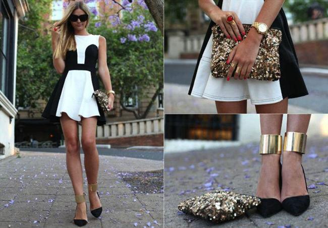 Siyah beyaz elbisenize uygun dore rengi aksesuarlarınızla tamamlayacağınız kombinle göz kamaştıracaksınız.