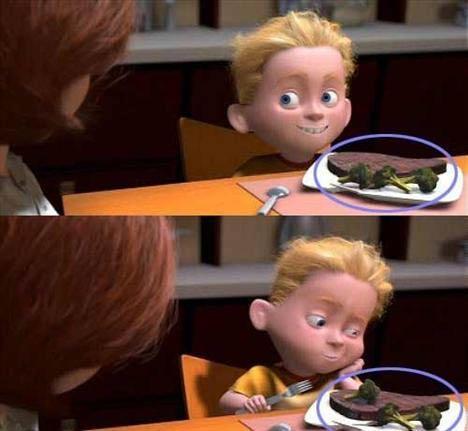 The Incredibles – Brokolinin yer değiştirmesi:  Akşam yemeği sahnesinde, Helen Dash ile konuşmak için döndüğünde Dash'in tabağındaki brokoliler etin etrafındayken sahne değiştiğinde ise brokoli parçalarından birisi artık etin üzerindedir.