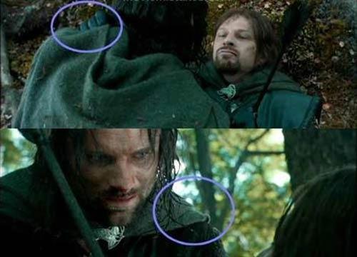 The Lord of the Rings: The Fellowship of the Ring (Yüzüklerin Efendisi: Yüzük Kardeşliği)   Boromir'in elinin kaybolması Boromir'in ölümünden önce Aragorn ile konuştukları sahnede, arkadan çekimde Boromir'in sağ elini Aragorn'un sol omuzuna koyduğunu görebiliyoruz. Kamera açısı Boromir'in perspektifine döndüğü zaman ise Boromir'in elinin artık Aragorn'un omuzunda olmadığını görebilirsiniz.