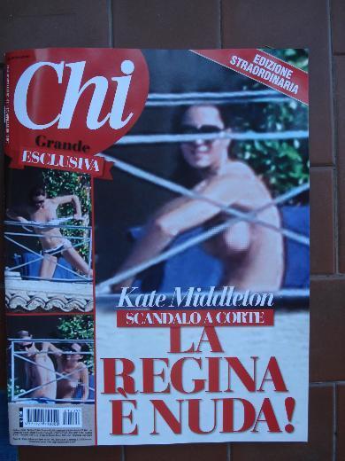 """İtalyan magazin dergisi """"Chi"""", daha önce açıkladığı üzere İngiltere veliaht prensi William'ın eşi Cambridge Düşesi Kate Middleton'ın üstsüz fotoğraflarından oluşan derginin bu haftaki sayısını çıkardı."""