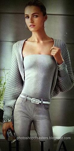 Rusya doğumlu model Valentina Zelyaeva'nın bel bölgesi dijital ortamda inceltilmişti.