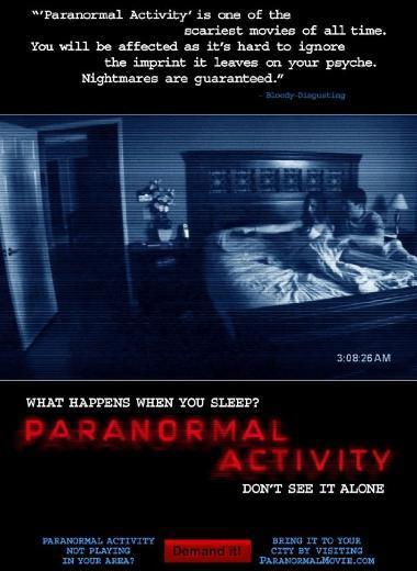PARANORMAL ACTIVITY 111 kalori yaktıran Paranormal Activity amatör kamerayla çekilen bir korku filmidir. Paranormal Activity'nin devam filmleri de çekildi.
