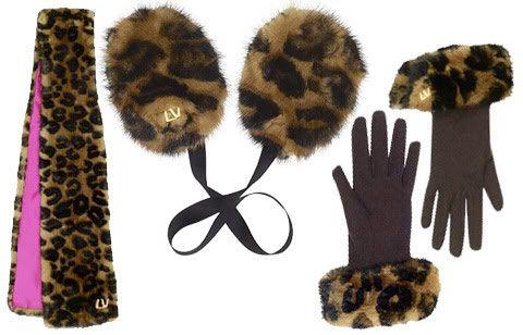 Leoparlı eldiven ve atkı