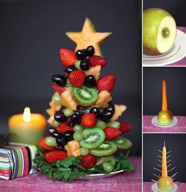 Yılbaşı ağaçlarını nasıl biliriz? Ya çam'dır, ya da yapay değil mi? Oysa  meyve ve sebzelerle de yılbaşı ağaçları yapabilirsiniz. Üstelik hem lezzetli hem yenebilirler... Yani ağaçlarınızı yiyebilirsiniz. :) Nasıl mı?