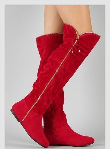 Fermuarlı uzun kırmızı çizme
