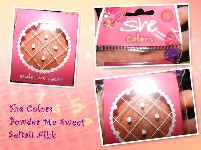 SHE   Powder Me Sweet:  Satenimsi, parlak yüzeyi ve ışıltılı renk kombinasyonları ile ilgi çekici bir ürün. Doğal görünüm veren tonları ve bombeli yapısı sayesinde kolay kullanımı da cabası.