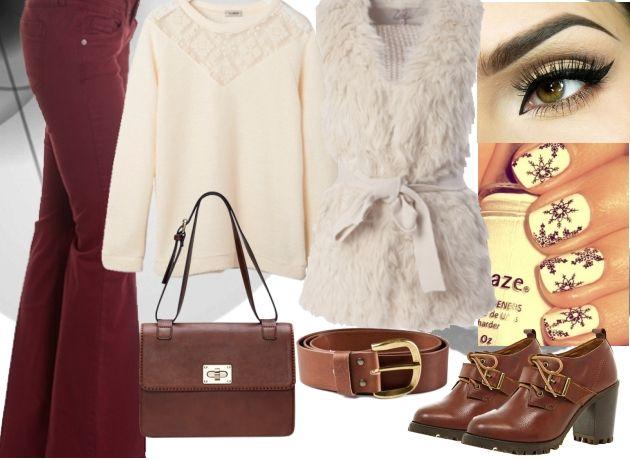 İspanyol paça pantolon, pudra rengi kazak ve kahverengi çanta-ayakkabıyla kombinlenen bu kıyafetleri alışverişe çıktığınızda kullanabilirsiniz.