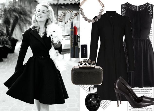 Siyah palto, elbise, ayakkabı ve çanta kombini davete giderken kullanabilirsiniz.
