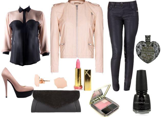 Pudra rengi deri ceket ve siyah deri pantolon ve pudra rengi platform ayakkabıyla kombinleyebilirsiniz. Bu kombini akşam yemeğine giderken kullanabilirsiniz.