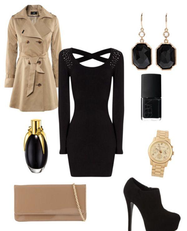 Krem rengi trençkot, siyah elbise ve topuklu botla tamamlananan kombini akşam yemeği için ya da özel bir davet için kullanabilirsiniz.