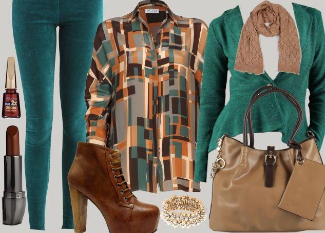 İçinde turkuaz kare ve dikdörtgen desenleri bulunan gömleğinizi, turkuaz pantolon ya da hırkayla tamamlayabilirsiniz.