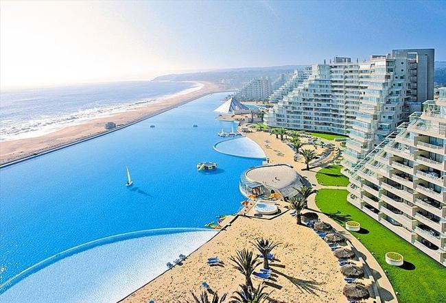 San Alfonso del Mar, Şili  Bir kilometreden fazla uzunluğuyla bu havuz şu an dünyanın en büyük havuzu.