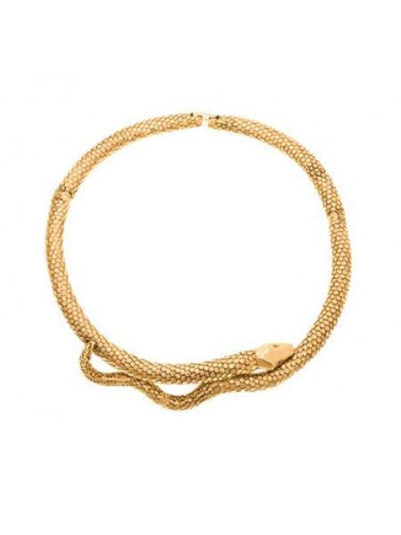 Yılan motifli kolye, bileklik ve yüzükler Aurélie Bidermann tasarımı kolye, tasma kolyelere vahşi bir hava katan bir figürle sunuluyor.