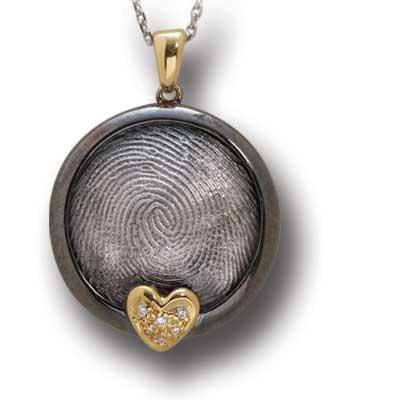 Parmak İzi Pırlanta Kalp Kolye Altın ve Gümüş Maith  Aşkın mührü parmakizi pırlanta kolye...