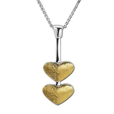 Parmak İzi Kalp Kolye Altın Petronella  Ariş Pırlanta, dünyada bir eşi daha olmayan parmak izinizi, ömür boyu üzerinizde taşıyacağınız kolyelere taşıyor.