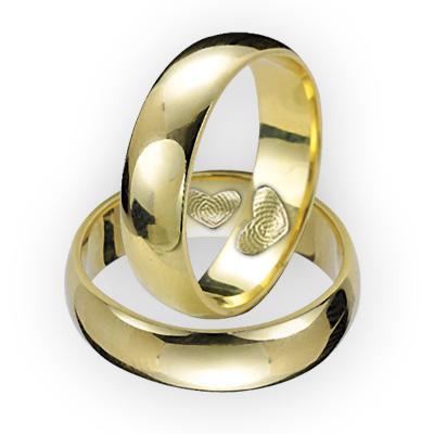 14 Ayar Yeşil Altın Parmak İzi Evlilik Alyansı (Çift)