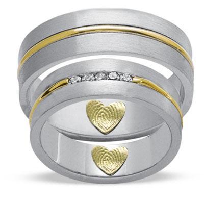 Evlilik Alyansı Parmak İzi Pırlanta Altın (Çift)