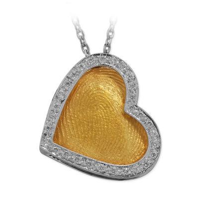 Pırlanta Parmak İzi Kalp Kolye Altın Cardio