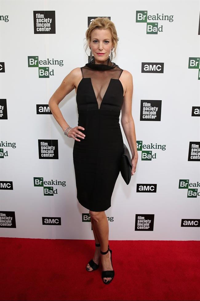 Oyuncu Anna Gunn'ın Lincoln Kültür Merkezinde giydiği tül detaylı elbise