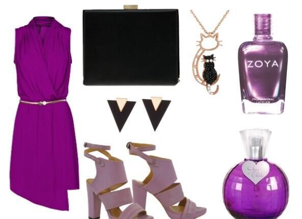 Mor elbisenizi, lila rengi ayakkabılarınızla ve ona uygun takılarınızla kombinleyebilirsiniz.