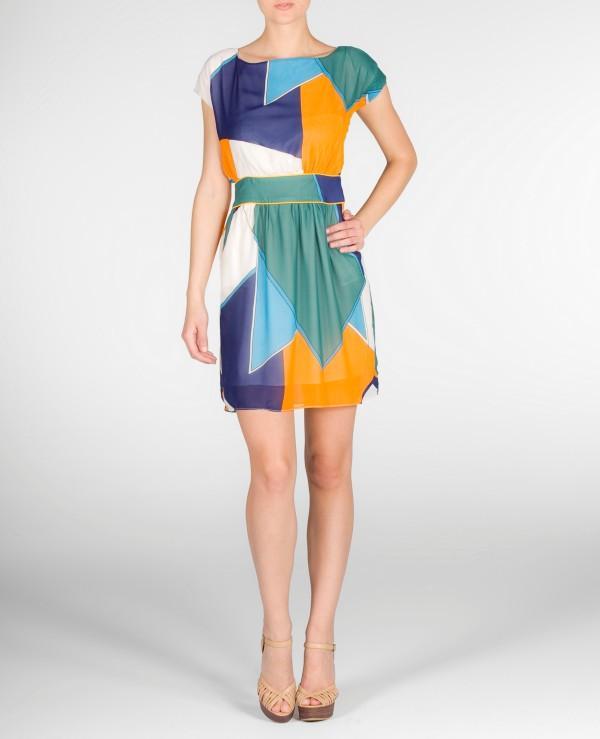Grafik desenli kısa kollu mini elbise