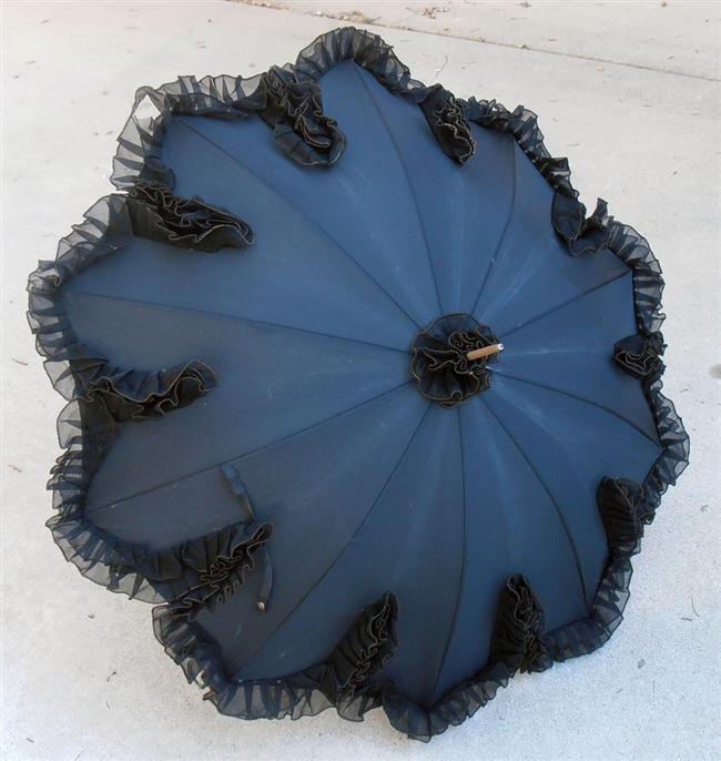 Tül detaylı saks mavisi şemsiye