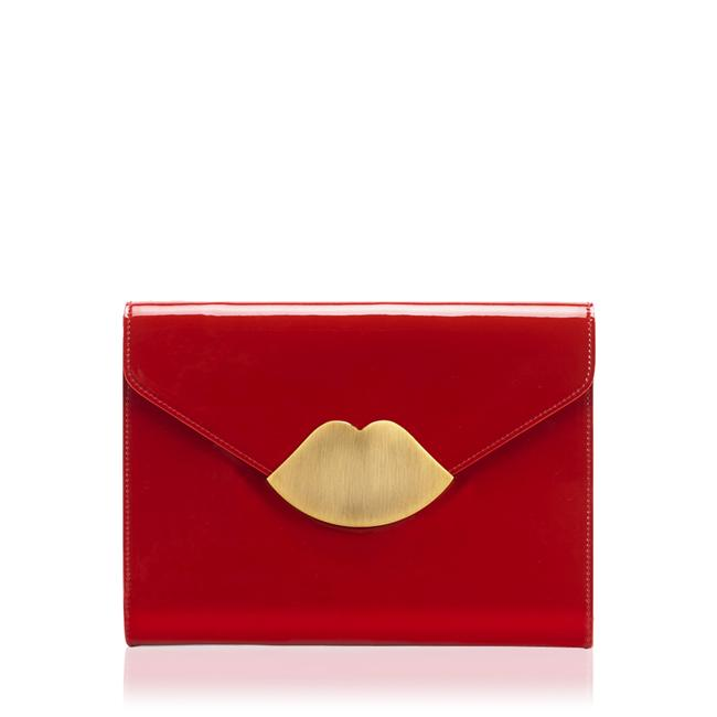 Dudak detaylı kırmızı portföy çanta