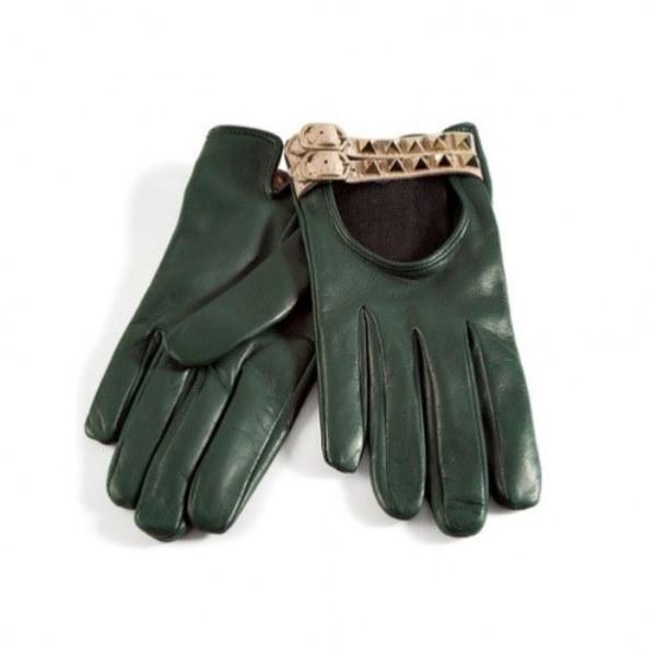 Zımba detaylı yeşil deri eldiven
