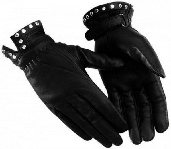 Zımba detaylı siyah deri eldiven