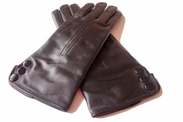 Düğme detaylı kahverengi deri eldiven