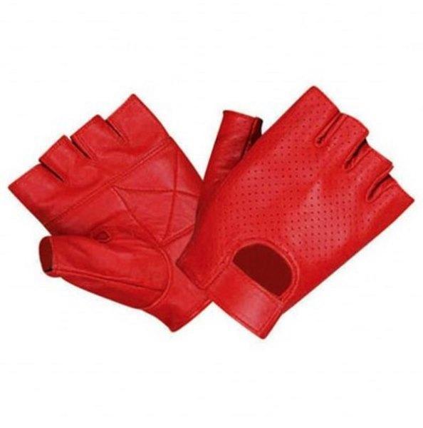 Kesik parmaklı kırmızı deri eldiven