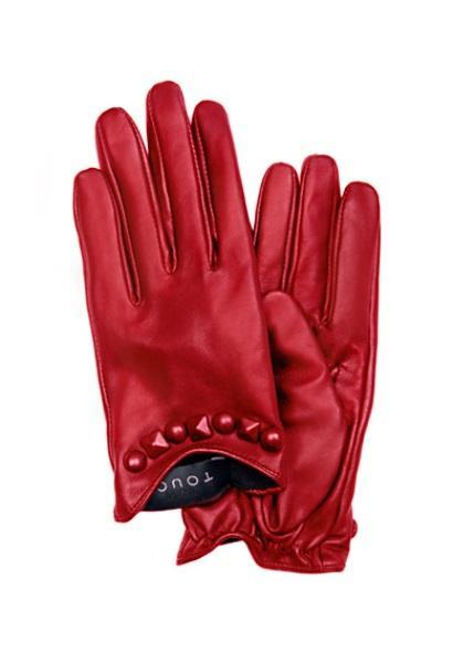 Taş detaylı kırmızı deri eldiven