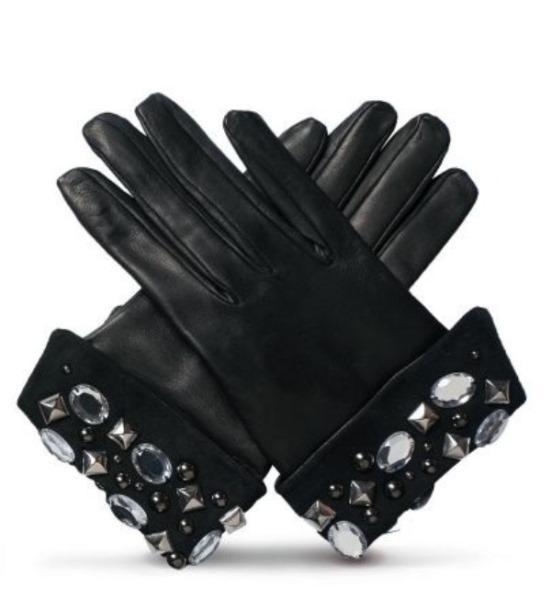 Taş detaylı siyah deri eldiven