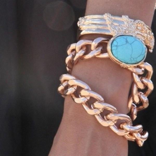 Mavi taş detaylı zincir bileklik