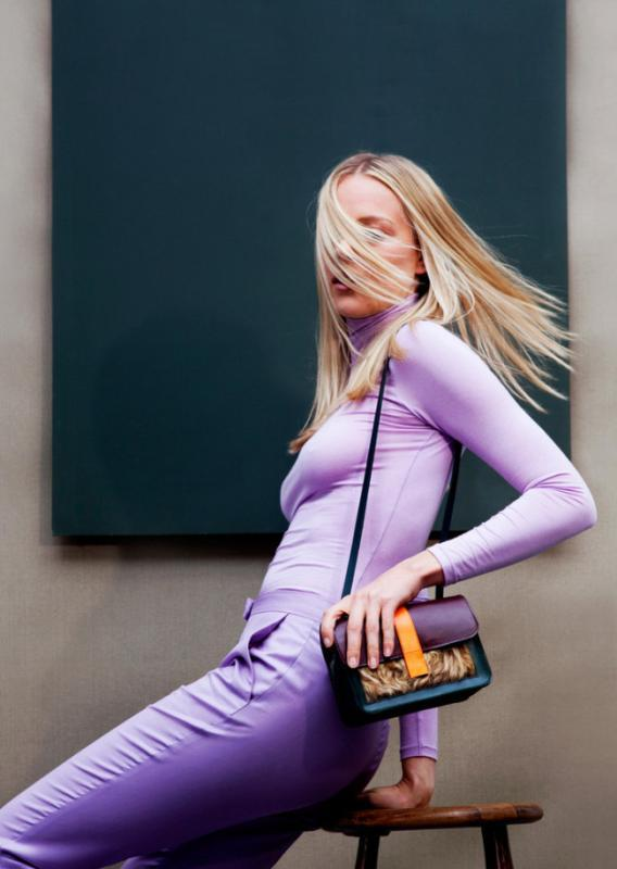 Kürk detaylı mor,turuncu ve petrol mavisi renklerini barındıran askılı çanta
