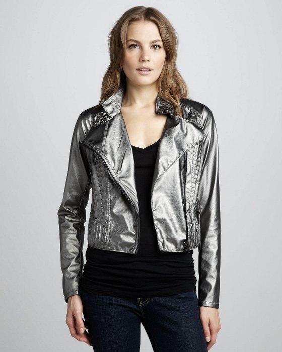 Metalik  kısa deri ceket