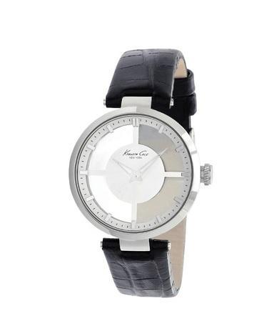 Siyah deri kayışlı analog saat