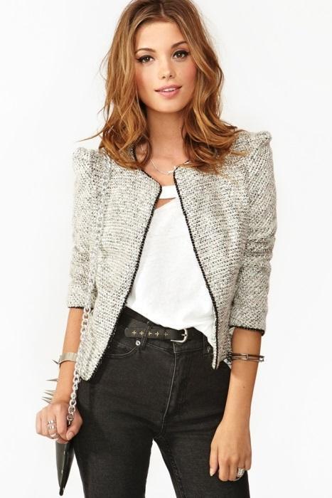 Beyaz tüvit ceket