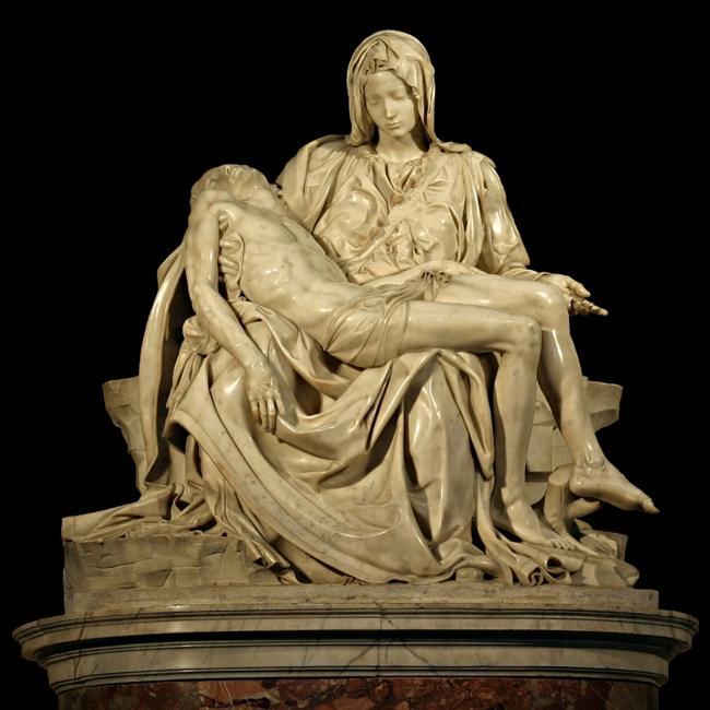Pieta – Michelangelo:  İtalya'da bulunan Heykel, İsa'nın çarmıhtan indirildiği anı canlandırır. Hristiyan inancına uygun olarak, Tanrı'nın oğlunun cansız bedeni artık annesinin kollarında yatmaktadır.