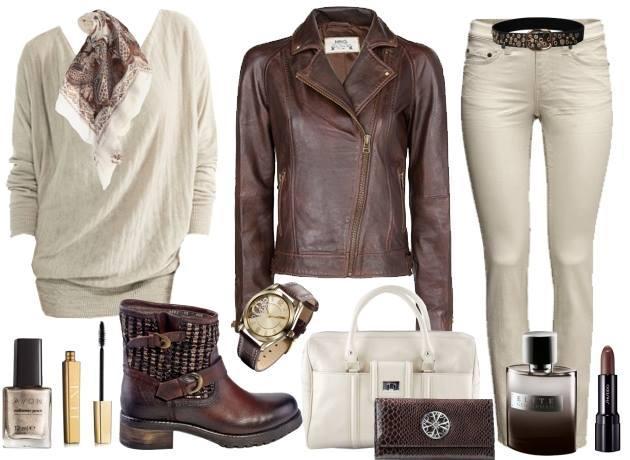 Açık renk pantolonuzu kahverengi deri ceketinizle kombinleyebilirsiniz.