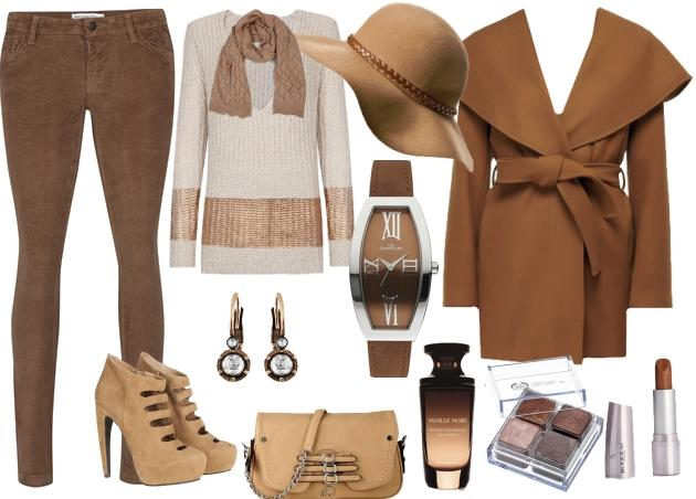 Dar paça kahverengi pantolonuzu krem renkteki kalın tabanlı ayakkabınızla kombinleyebilirsiniz.