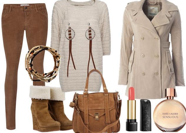 Kahverengi kadife pantolonuzu krem renkteki paltonuzla kullanabilirsiniz.