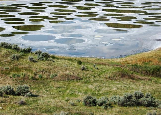 Benekli Göl, Kanada  Dünyanın mineral yoğunluğu bakımından en zengin göllerinden biri olan Benekli Göl, ABD sınırından 1.5 km ötede bulunuyor. Yazları beyaz, yeşil ve sarı renge bürünen mineral kaynağı gölün üzerinde oluşan doğal patikalarda yürüyüş yapabilirsiniz.