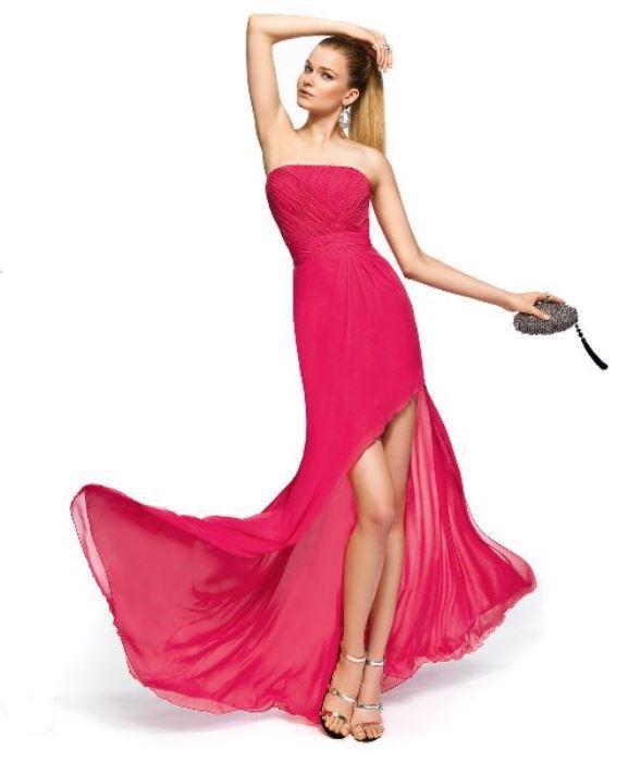 Asimetrik kesimli  pembe elbise
