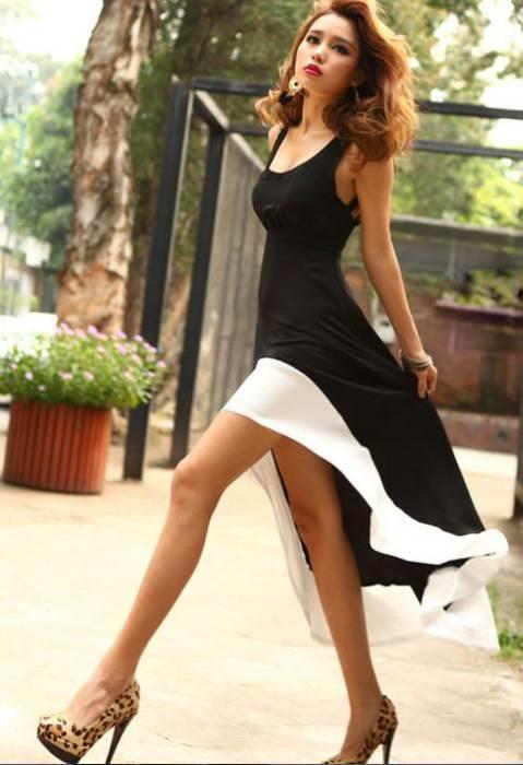 Asimetrik kesimli  siyah beyaz elbise