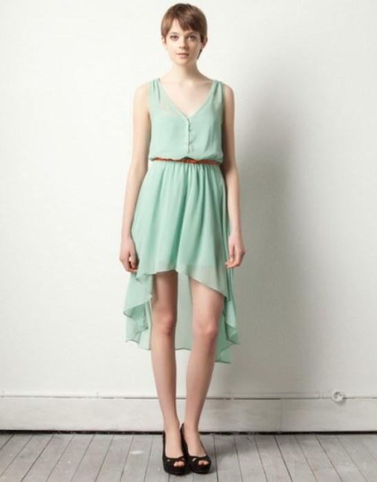 Asimetrik kesimli  mint yeşili renginde elbise