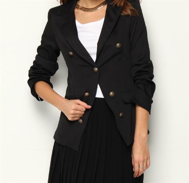Kruvaze blazer siyah ceket