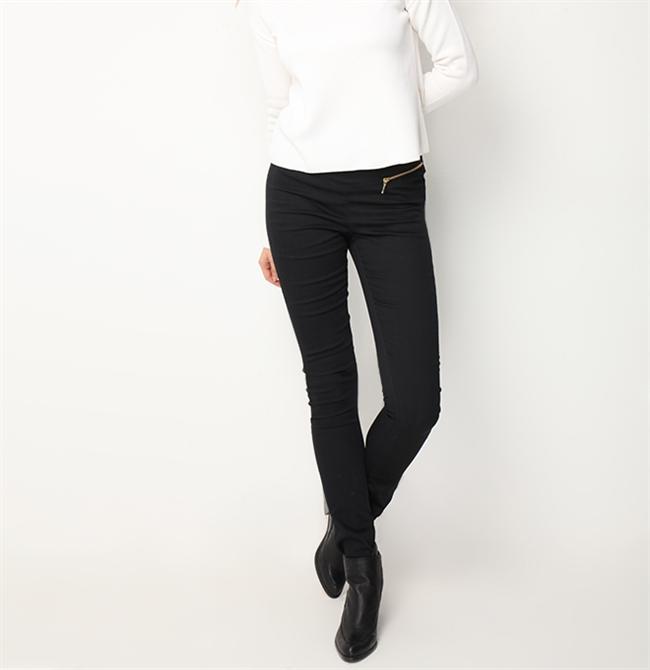 Düşük bel, dar paça ve fermuarlı detaylı koton pantolon