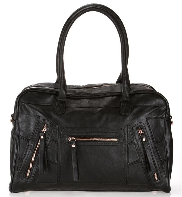 Fermuar detaylı elde ya da omuzda taşınabilen siyah çanta