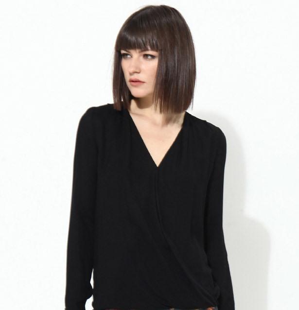 Uzun kollu siyah bluz